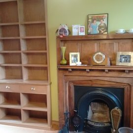 Oak fitted bookcase